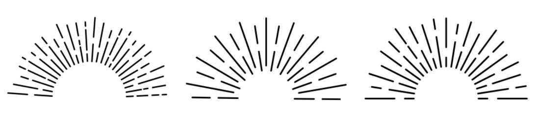 Sun rays or sunshine linear drawing. Vector illustration