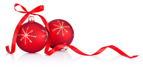 Deurstickers Bol Two red Christmas decoration bauble with ribbon bow isolated on white background