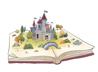 open book with medieval castle