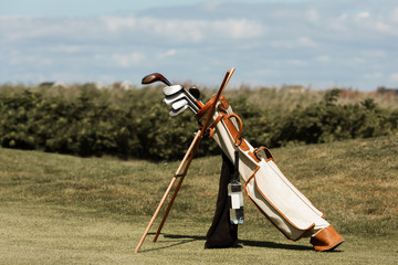 Hickory Golfbag Standing on the Fairway
