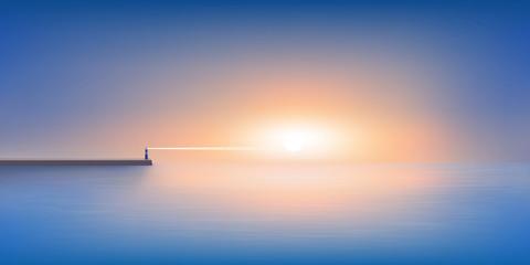 Le jour se lève sur un panorama maritime calme et reposant, avec un phare à l'horizon qui guide les navires de pêche jusqu'au port.