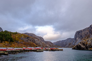 Nusfjord, authentic fishing village with traditional red Rorbu houses, Lofoten Islands, Norway, Scandinavia