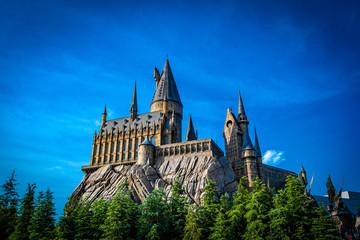 OSAKA, JAPAN - AUGUST 10, 2019: Photo of Hogwarts Castle. The Wizarding World of Harry Potter in Universal Studios Japan. Universal Studios Japan is a fun and famous theme park in Osaka, Japan.