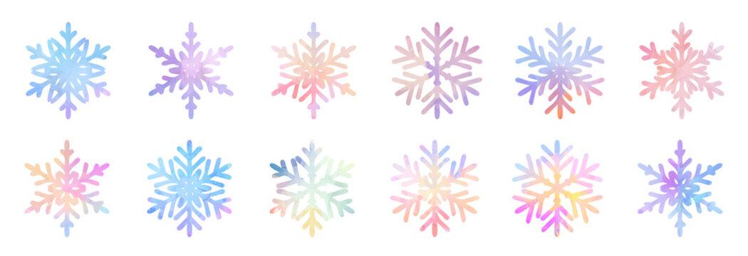 Big bundle set of vector hand drawn doodle watercolor snowflakes
