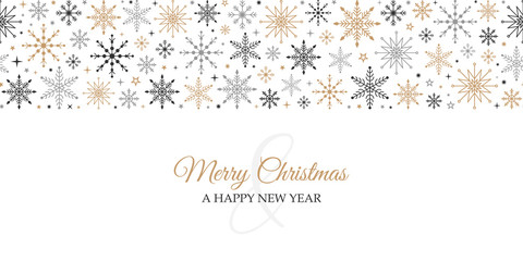 Wall Mural - Merry christmas new year christmas card background with winter snowflakes seamless vector pattern