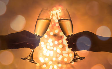 Christmas and new year toast celebration