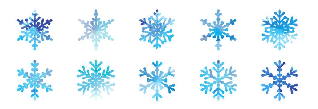 Big bundle set of blue vector hand drawn doodle watercolor snowflakes