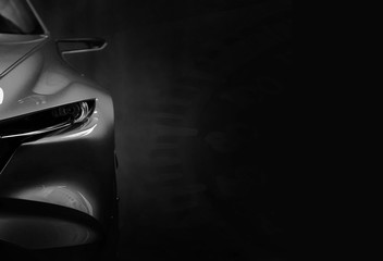 Wall Mural - Detail on one of the LED headlights modern car.copy space,black and white
