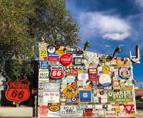 Wall of Vintage Americana Signs along Route 66 in Albuquerque New Mexico