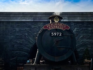 Hogwarts Express Replica Train in Wizarding World of Harry Potter Exhibition at Universal Studios Hollywood