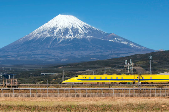 High Speed Bullet Train and Fuji Mountain