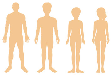 Silhouette of different human on white background