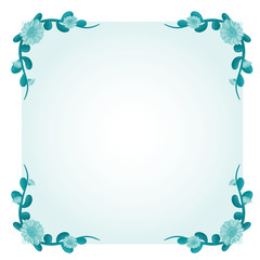 Background template with green flower frame