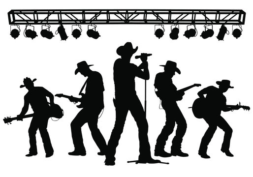 Vector silhouettes of a country music band performing on stage.