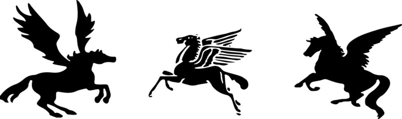pegasus icon isolated on white background Wall mural