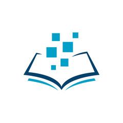 blue e book logo design vector. Sign of Electronic Book Library icon symbol
