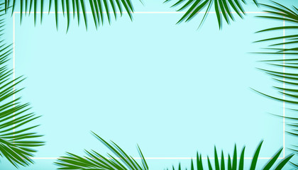Palm leaves decorated on the soft pastel color background Wall mural