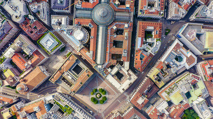 Zelfklevend Fotobehang Milan Milan, Italy. Gallery of Victor Emanuel II 1865-1877 year of construction. Roofs of the city aerial view, Aerial View, HEAD OVER SHOT