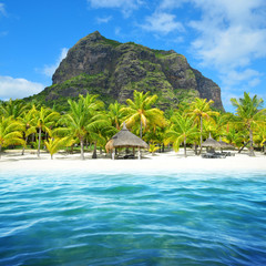 Photo on textile frame Island Beautiful sandy beach with Le Morne Brabant mountain on the south of Mauritius island. Tropical landscape.