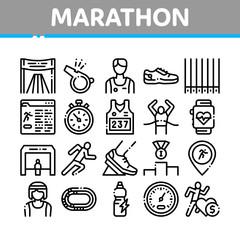 Marathon Collection Elements Icons Set Vector Thin Line. Human Athlete Silhouette Running And Uniform, Sport Stadium For Marathon And Shoe Concept Linear Pictograms. Monochrome Contour Illustrations