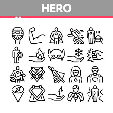 Super Hero Collection Elements Icons Set Vector Thin Line. Hero Superman Silhouette And Woman, Face Mask And Muscle Power Concept Linear Pictograms. Monochrome Contour Illustrations