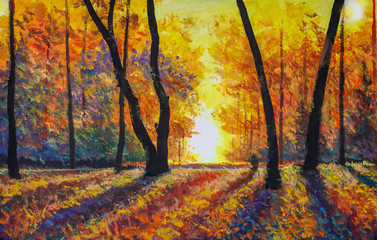 Sunny autumn forest oil painting modern impressionism autumn landscape. Dark trees in autumn park. Gold expressionism fineart illustration autumn nature