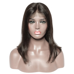middle part straight black human hair weaves extensions lace wigs
