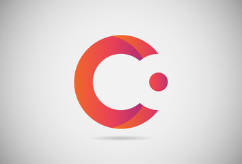 Letter C logo gradient simple elegant flat design. creative logo vector for company or event. abstract font and alphabet modern logo. purple pink and orange gradient logo.