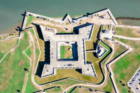 Aerial Top to Bottom Castillo de San Marcos in Saint Augustine, Florida
