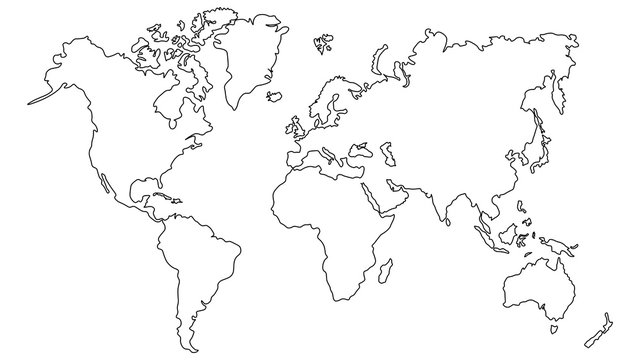 Vector illustration World map outline on white isolated background.