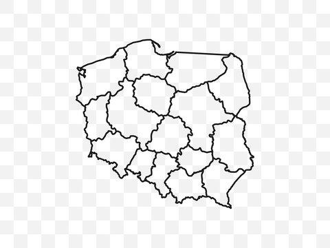 Poland map on transparent background. Vector illustration.