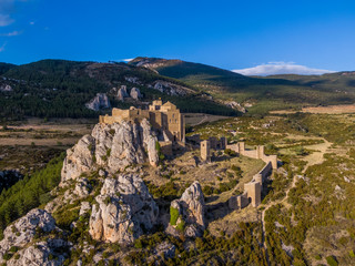Aerial view of the Romanesque Loarre Castle and Abbey in Spain