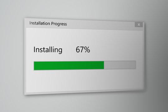 Install Program Process Animation on Gray Background
