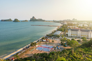 Viewpoint of Khao Chong Krachok at sunset, Prachuapkhirikhan province