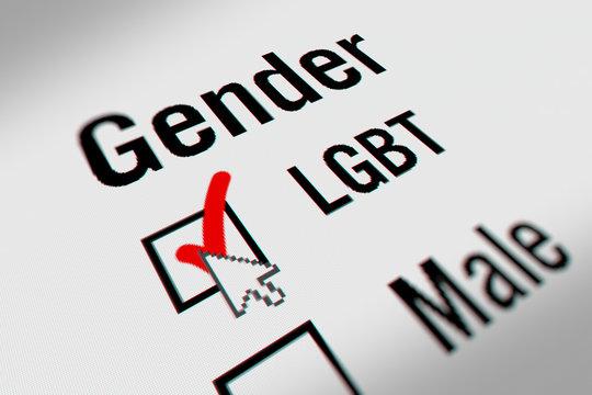 LGBT Checkbox Marking Survey. Checking LGBT Option on White Background