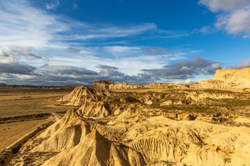 Aerial view of Bardenas Reales semi-desert natural region at sunset in Spain