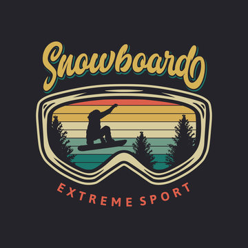 Snowboard extreme sport vintage typography t shirt design with glasses and snowboarder silhouette