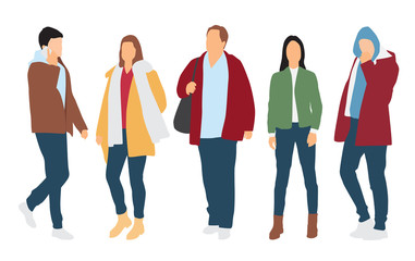 Silhouettes of men and women standing and walking, cartoon character, outerwear, group business people, vector illustration, flat designe icon, isolated on white background