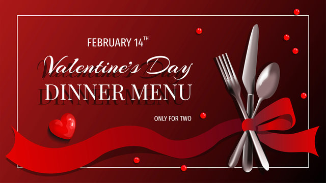 Valentine's Day Menu design with fork, spoon, knife and ribbon on the red background. Romance, 14 February, Dinner, Eating concept.  Vector illustration for banner, poster, menu, flyer, advertising.
