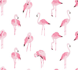 Photo on textile frame Flamingo seamless flamingo pattern illustration