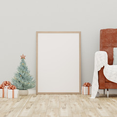 Christmas poster mockup with frame on a white wall background, Red leather sofa  - 3D rendering, illustration.