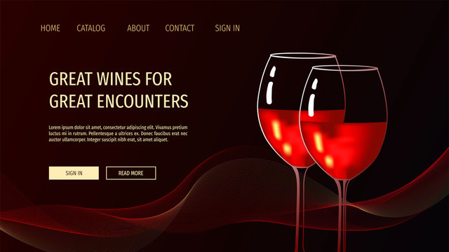 Web page design template for Wine store, tasting, party, Romance, Winery. Two glasses with red wine on the black background. Vector illustration for banner, website, poster, flyer, brochure.