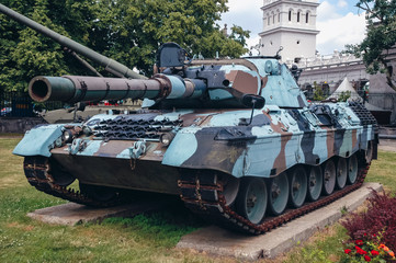 Warsaw, Poland - June 19, 2006: Leopard 1A4 German tank at open air exhibition in front of Museum of the Polish Army in Warsaw, capital of Poland