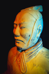 Warsaw, Poland - November 8, 2006: Replica of famous Chinese Terracotta Army soldier during exhibit in Warsaw city