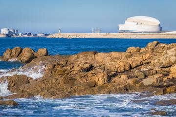 Porto, Portugal - November 13, 2017: Leixoes port in Matosinhos city seen from a beach in Porto city