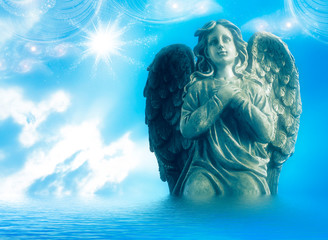 Wall Mural - angel archangel with praying hands over divine mystic sky like religious spiritual angelic concept