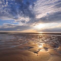 Keuken foto achterwand Grijs Sunset on a sunny summer day at the Strait of Dover (Pas de Calais)