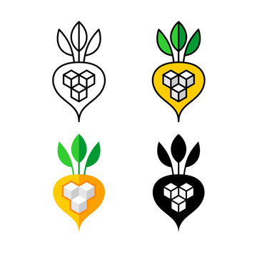 Sugar beet logo. White and yellow beetroot with three sugar cubes symbol. Agriculture icon. Adjustable stroke width.