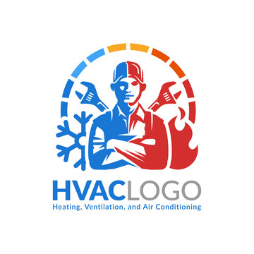 HVAC logo design, heating ventilation and air conditioning logo or icon template.