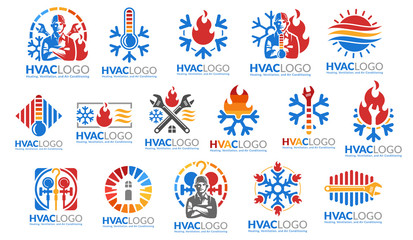 A set of HVAC logo design, heating ventilation and air conditioning, HVAC logo pack template collection Wall mural